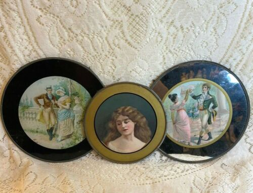 THREE FLUE COVERS LOT #110 Victorian Couple Dancing, Couple Chatting, Woman