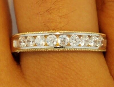 14k Yellow Gold Two Tone 1 CT Diamond Mens Round Wedding Band Ring Milgrain -