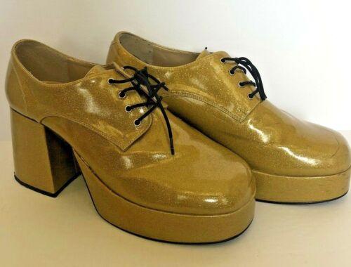 Mens Funtasima Platform Shoes Size XL (14) Gold Glitter