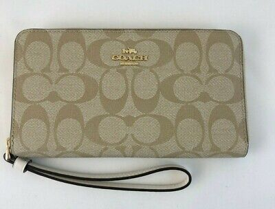 New Authentic Coach F73418 Large Phone Wallet In Signature Canvas Light Khaki