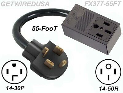55FT Long. 4-PRONG 14-50R RECEPTACLE to 4-PIN 14-30P DRYER POWER PLUG ADAPTER