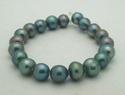 "Large Hole (1.5mm) High Luster 11mm Blue Freshwater Pearls Round Beads 8"" Strand"