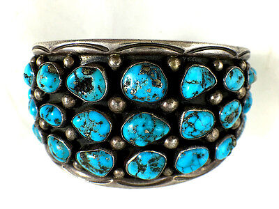 Best! Navajo Bracelet Rare Gem Quality Kingman Pyrite Gorgeous Natural Turquoise