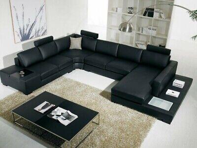 Modern unique design black or white Leather Sectional Sofa W Light #V112733A Modern Black Leather Sofa