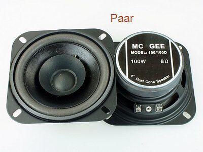 1 Paar 4 Zoll 100mm 8Ohm Breitbandlautsprecher McGee 100W Dual-Cone 2 Stück 4 Dual Cone