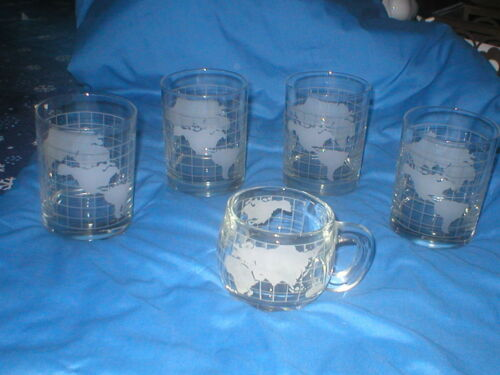 VINTAGE NESTLE 4 GLASSES 1 MUG WORLD MAP DESIGN LOT SOLD AS IS AS SHOWN