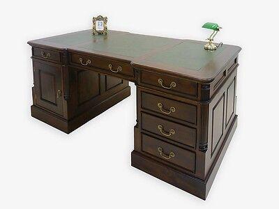 Schreibtisch Partnerdesk Büromöbel Antik Stil mit grüner Lederauflage (2917)
