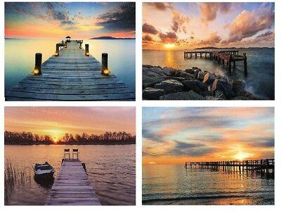 4 Wandbilder See am Steg LED beleuchtet 20 x 15 cm Sonnenuntergang