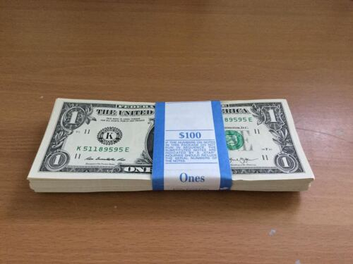100 Pack of Consecutive $1 Unc Paper Currency Money Notes