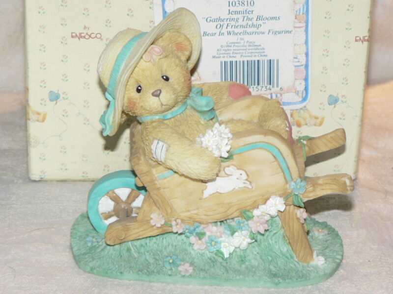Cherished Teddies 1994 Jennifer Flowers Wheelbarrow 103810 EXC Complete Retired
