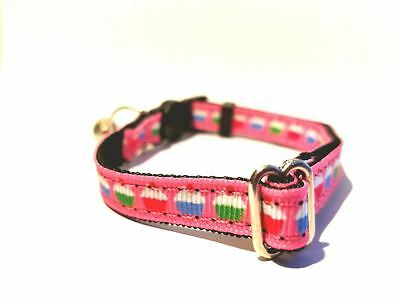 SWEET PINK CUPCAKES! Breakaway Safety Kitty Cat Collar with removable - Caterpillar Cupcakes