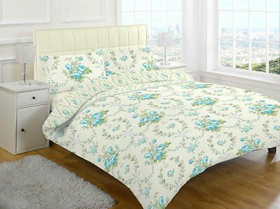 Teal Flower Duvet Quilt Cover Bedding Set And Two Pillowcases Fits KING SIZE Bed