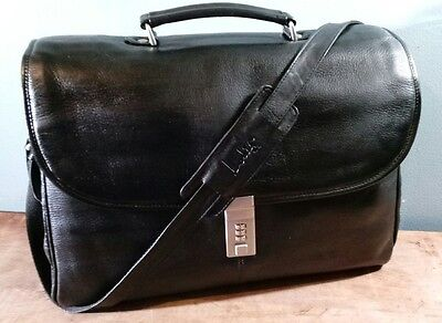 LODIS BLACK PEBBLE GRAIN LEATHER BRIEFCASE LAPTOP DOUBLE GUSSET SHOULDERBAG