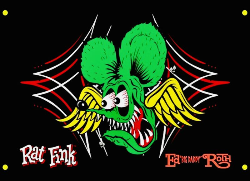"Huge 5Ftx3Ft Rat Fink Flag Banner Von Dutch Ed Roth ""BIG DADDY"" Hot Rod RARE"