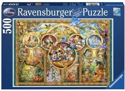 NEW Ravensburger 500 Pc Disney Family Mickey Cinderella Snow White Ariel Puzzle