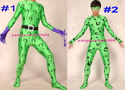 Fantasy 2 Style Green Riddler Suit Catsuit Costumes Unisex Problem Mark Suit - Riddler Suit Costume