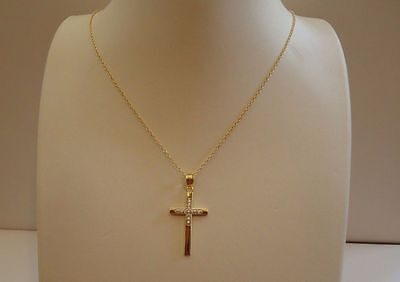 - 18K YELLOW GOLD OVER 925 STERLING SILVER CROSS NECKLACE PENDANT W/ ACCENTS/18''