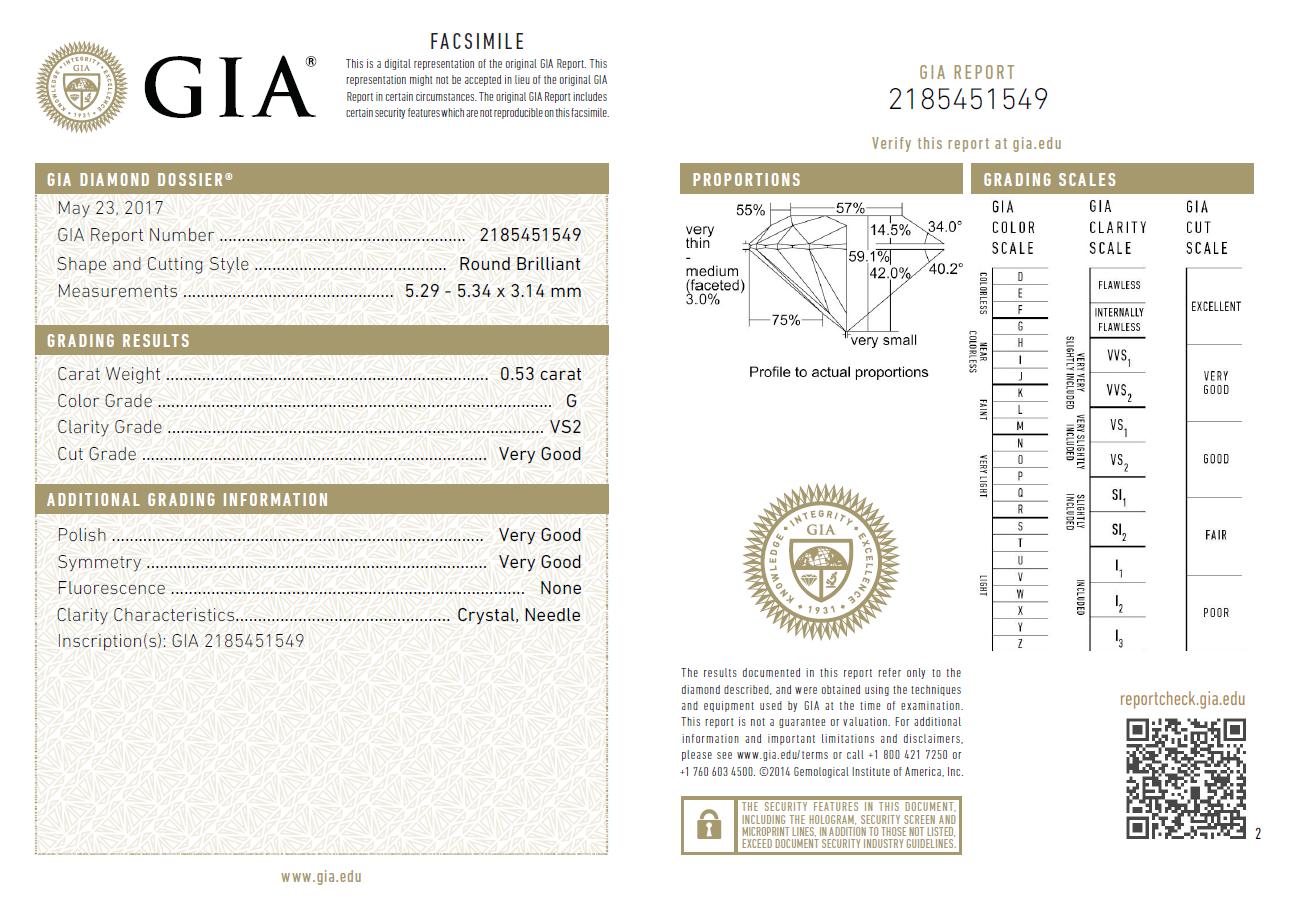 0.53 Carat Loose G/ VS2 Round Brilliant Cut Diamond GIA Certified