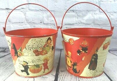 Vtg Style Halloween Metal Pail Bucket Lot of 2 Pumpkin Cat Witch Trick or Treat