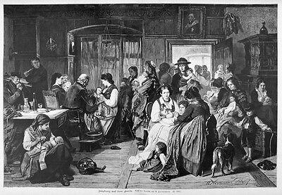 Impfung der Kinder im Schwarzwald, Riesen-Holzstich ca. 1890