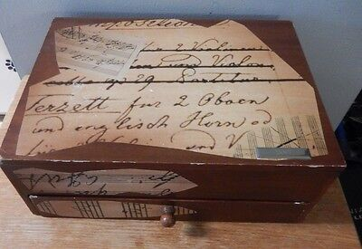 Vintage Wooden Desk Organizer W Drawer And Notepad Holder Music Sheet Decoration