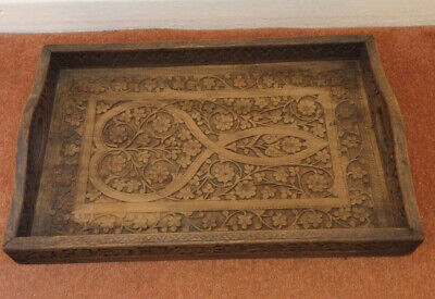 Large Vintage Hand Carved Tray