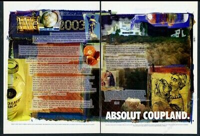 1998 Absolut Coupland vodka Doug Coupland art story vintage print ad