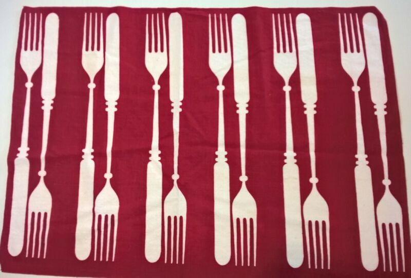 Martex Vintage Red Forks Kitchen Towel Very Good Condition