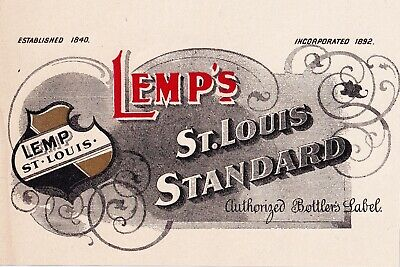 1900s WILLIAM LEMP BREWERY, ST LOUIS MISSOURI LEMP'S STANDARD PRE-PRO BEER LABEL