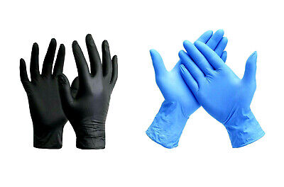 Nitrile Gloves Black Blue Durable S M L Xl Powder Free Exam 50 - 1000 Pcs