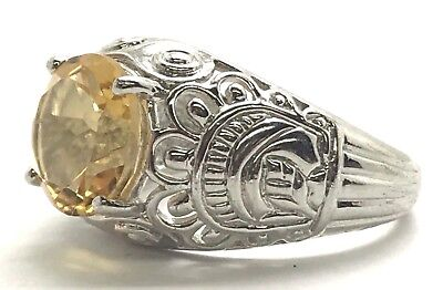 Sterling Silver Antique Style Honey Yellow Citrine Swirl Etch Dome Cocktail Ring