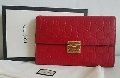 NEW $1,060 GUCCI GUCCISSIMA RED LEATHER PADLOCK CLUTCH BAG MARMONT