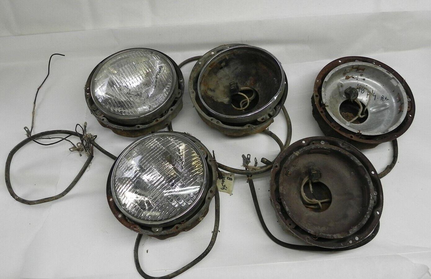 1946-1947-1948 PLYMOUTH MOPAR VINTAGE USED HEAD LIGHT LAMP BUCKET ASSEMBLIES LOT