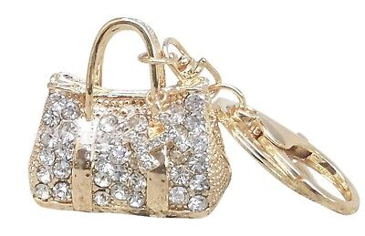 Women's Gold Rhinestone Kelly Key-chain Bling Key Rings Handbag Charm