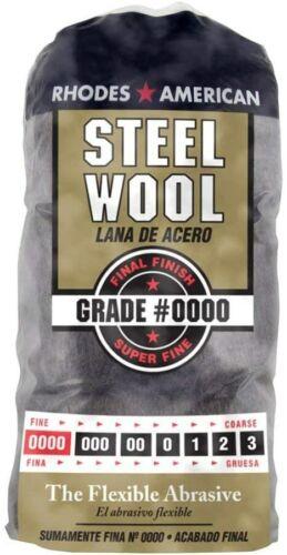 Steel Wool, 12 pad, Grade #0000, Rhodes American, Final Finish