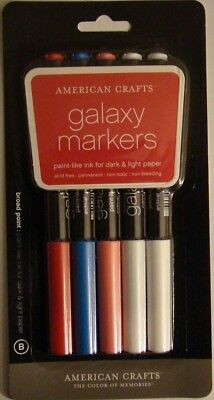 (American Crafts GALAXY MARKERS Set of 5 Broad Point 62161 Brand NEW!)