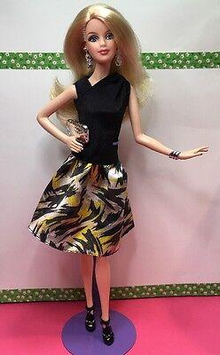 Beautiful Blonde Muse Model Barbie Wearing Tim Gunn Top & Skirt