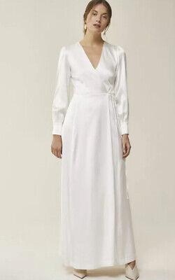 IVY & OAK Bridal Maxi Wrap Satin Long Sleeve Dress White EU 46 UK 18 New