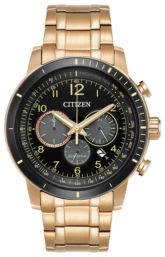 Citizen Brycen Eco-Drive Men's Chronograph Rose Gold-Tone 44mm Watch CA4359-55E