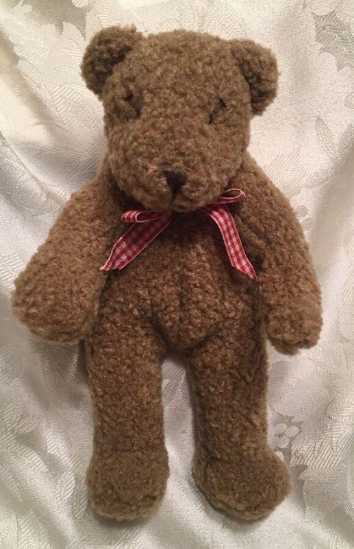 "6"" RARE Brown Teddy Bear Mini Bear Red Gingham Bow Ribbon Sewn Eyes"
