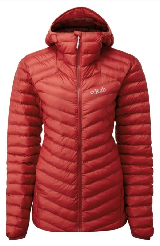 RAB Womens Ascent Red Cirrus Alpine Insulated Hooded Outdoor Jacket UK 10 BNWT