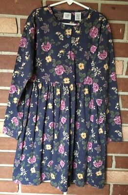 Gap Girls (Kids) L 10 Vintage Country Blue Wildflower DRESS Daydress - Country Girl Clothing Dresses