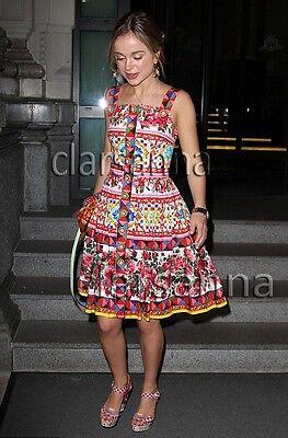 $2445 Dolce & Gabbana AUTH NWT Mambo Maiolica Rose Button Front Poplin Dress 38