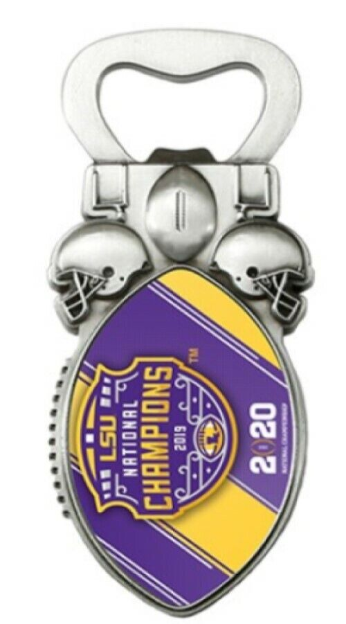Graphics and More LSU Logo on Purple Keychain with Bottle Cap Opener