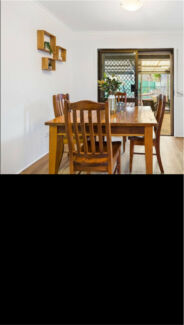 Square timber dining table and chairs