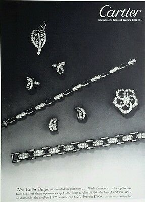 1950 vintage Cartier Platinum Jewelry advertisement diamond sapphire earrings ad