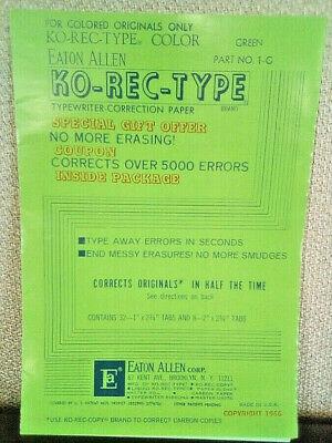Vintage Eaton Allen Corp. Ko-rec-type Typewriter Correction Paper Green 1966