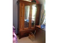 antique walnut wardrobe and chest of drawer. very good condition.