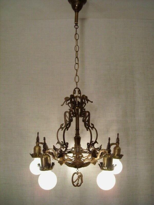1928 Mid-West Bronze Tudor Chandelier Dragon Motif RESTORED Light Fixture