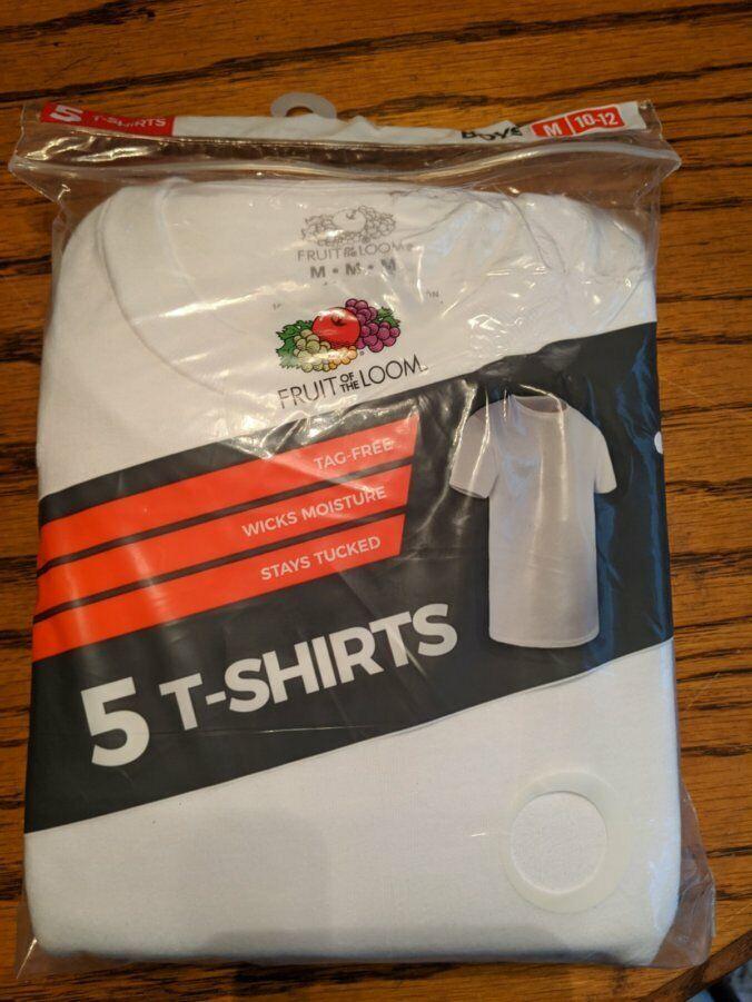 Fruit Of The Loom Boys White Crew Neck 5 T Shirts Size Mediu